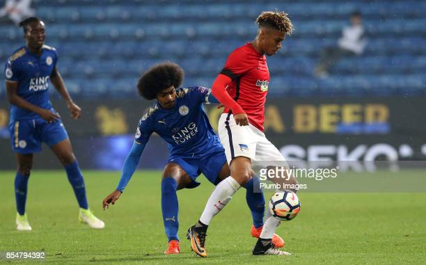 Hamza Choudhury of Leicester in action with Sidney Friede of Hertha Berlin during the Premier League International Cup tie between Leicester City U23...