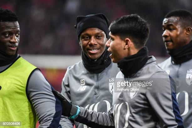 Hamza Mendyl of Lille during the Ligue 1 match between Lille OSC and Olympique Lyonnais at Stade Pierre Mauroy on February 18 2018 in Lille