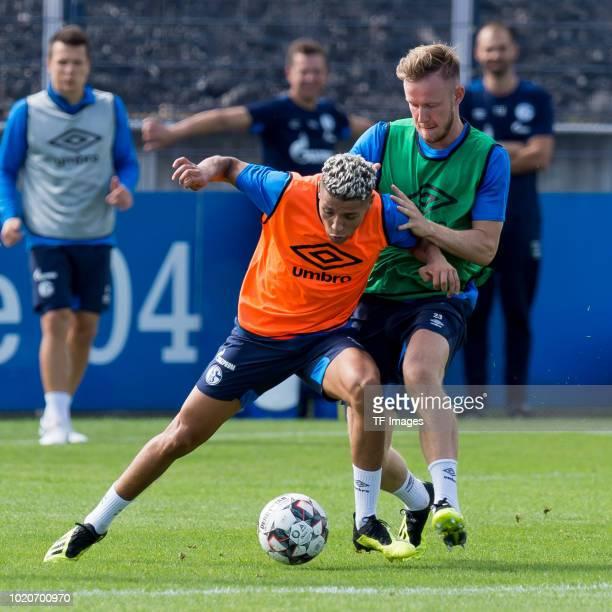 Hamza Mendyl of Schalke looks on during the Schalke 04 training session on August 21 2018 in Gelsenkirchen Germany