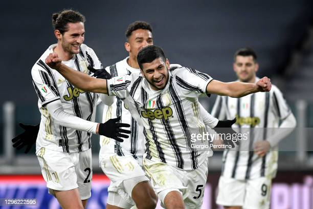 Hamza Rafia of Juventus celebrates his 3-2 goal with his teammates during the Coppa Italia match between Juventus and Genoa CFC at Allianz Stadium on...