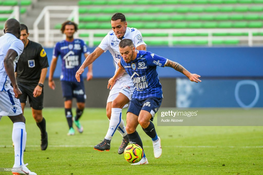 a41067c48e31 Hamza Sakhi of Auxerre and Bryan Pele of Troyes during the friendly ...