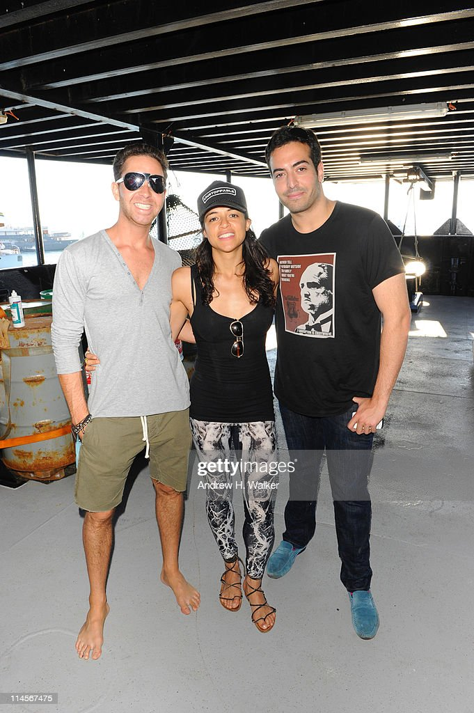 Hamza Talhouni, Michelle Rodriguez and Mohammed Al Turki visit The Sea Shepard's Steve Irwin Vessel during The 64th Annual Cannes Film Festival on May 20, 2011 in Cannes Harbor, France.