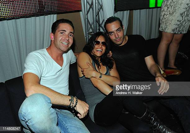Hamza Talhouni, Michelle Rodriguez and Mohammed Al Turki visit the VIP Room on May 21, 2011 in Cannes, France.