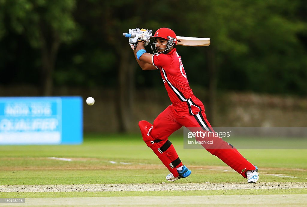 Hamza Tariq of Canada in action during the ICC World Twenty20 India Qualifier between Canada and Kenya at Myreside Cricket Club, on July 10, 2015 in Edinburgh Scotland.