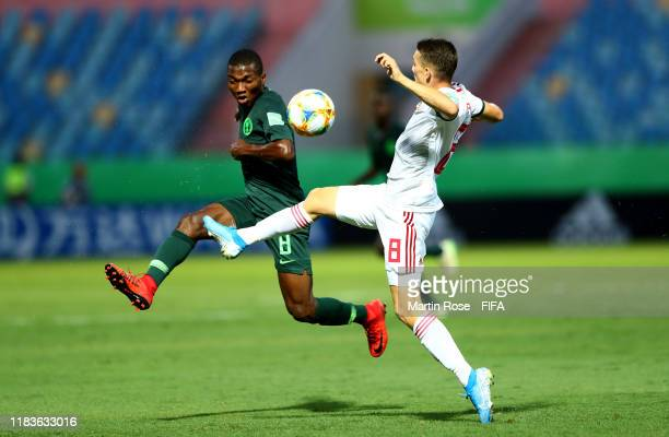 Hamzat Ojediran of Nigeria challenges Samuel Major of Hungary during the FIFA U17 World Cup Brazil 2019 Group B match between Nigeria and Hungary at...