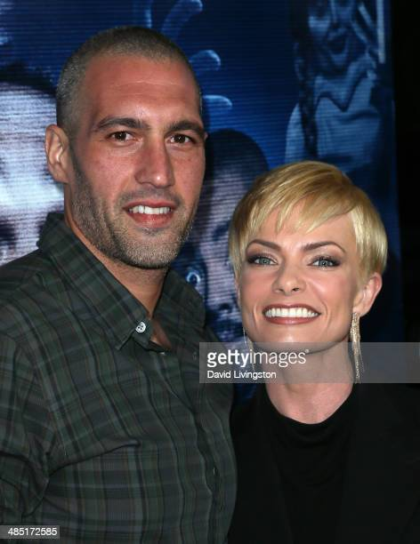 Hamzi Hijazi and actress Jaime Pressly attend the premiere of Open Road Films' A Haunted House 2 at Regal Cinemas LA Live on April 16 2014 in Los...