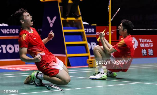 Han Chengkai and Zhou Haodong of China celebrate the victory after their Men's Doubles semi finals match against Marcus Fernaldi Gideon and Kevin...