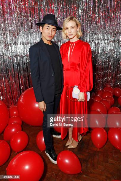 Han Chong SelfPortrait Founder and Creative Director and Carey Mulligan attend the SelfPortrait store opening afterparty at Central St Martins on...