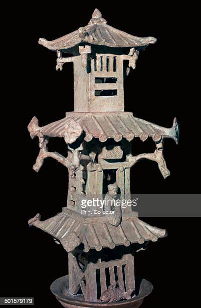 Han Dynasty Chinese pottery model of a watchtower From the British Museum's collection 1st century