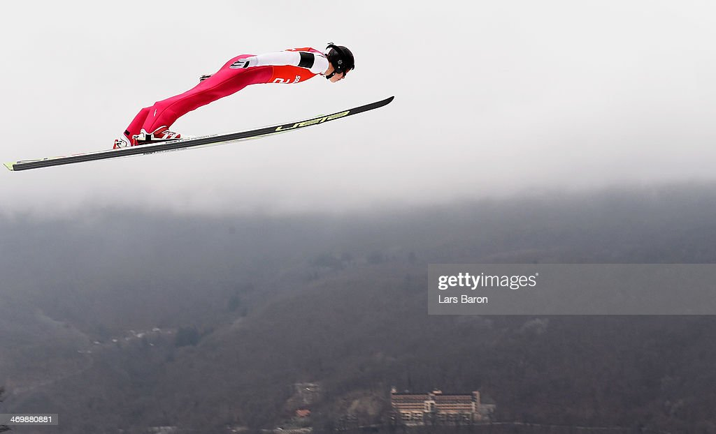 Han Hendrik Piho of Estonia jumps during the Nordic Combined Individual Large Hill official training on day 10 of the Sochi 2014 Winter Olympics at RusSki Gorki Jumping Center on February 17, 2014 in Sochi, Russia.