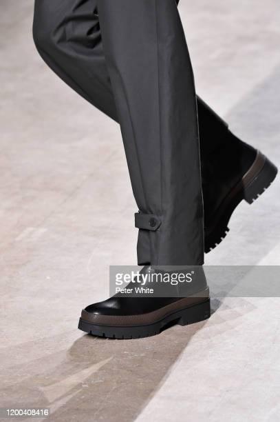 Han Ji, bag detail, walks the runway during the Hermes Menswear Fall/Winter 2020-2021 show as part of Paris Fashion Week on January 18, 2020 in...