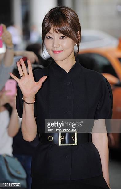Han JiHye attends Han HyeJin and Ki SungYueng wedding at Intercontinental hotel on July 1 2013 in Seoul South Korea