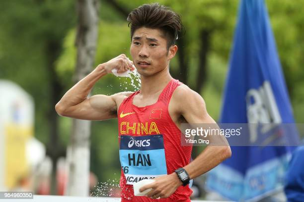 Han Jijiang of China in action during Men's 50 kilometres Race Walk of IAAF World Race Walking Team Championships Taicang 2018 on May 5 2018 in...