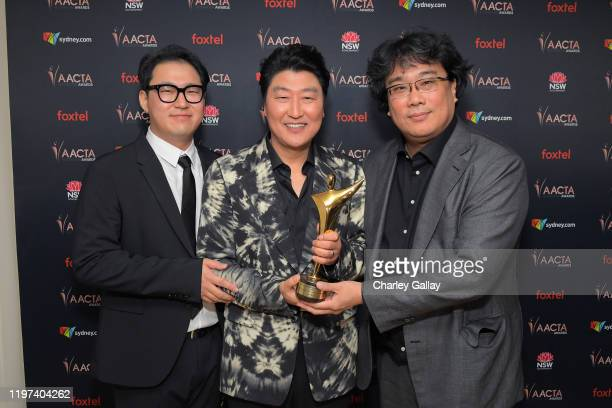 Han Jinwon Song Kangho and Bong Joonho attend the 9th AACTA International Awards at Mondrian Los Angeles on January 03 2020 in West Hollywood...