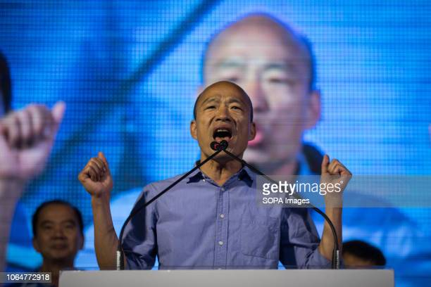 Han Kuoyu seen speaking to his supporters during the rally Kaohsiung mayoral candidate Han Kuoyu from the opposition Kuomintang Party announces...