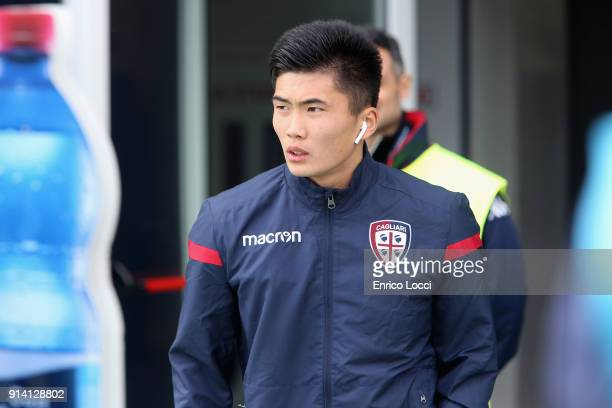 Han Kwang Song of Cagliari looks on during the serie A match between Cagliari Calcio and Spal at Stadio Sant'Elia on February 4 2018 in Cagliari Italy