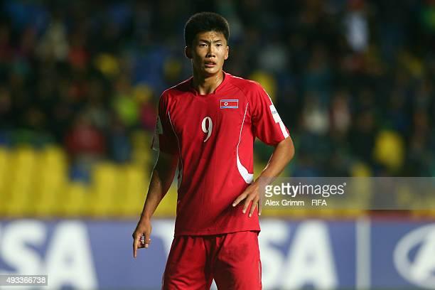 Han Kwang Song of Korea DPR reacts during the FIFA U17 World Cup Chile 2015 Group E match between Korea DPR and Russia at Estadio Municipal de...