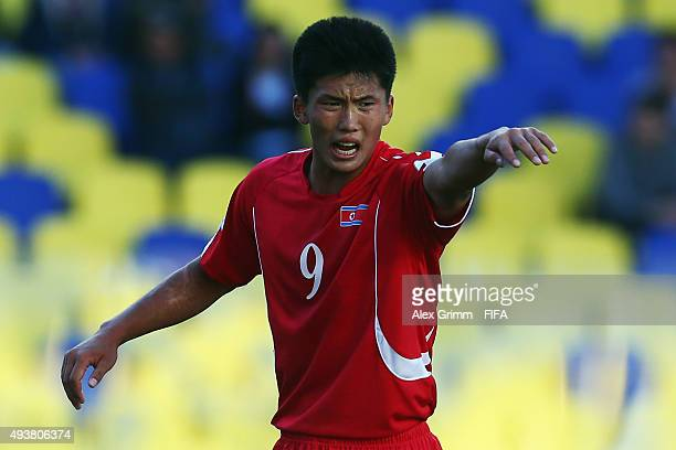Han Kwang Song of Korea DPR reacts during the FIFA U17 World Cup Chile 2015 Group E match between South Africa and Korea DPR at Estadio Municipal de...