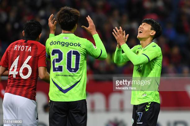 Han Kyowon of Jeonbuk Hyundai Motors reacts after missing a chance during the AFC Champions League Group G match between Urawa Red Diamonds and...