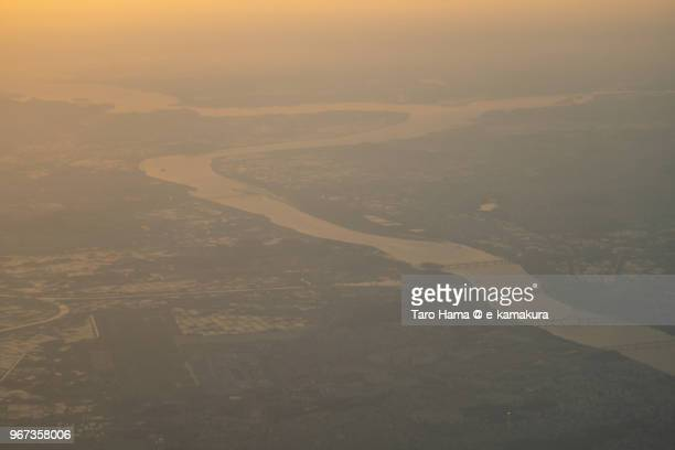 Han River in Korea sunset time aerial view from airplane