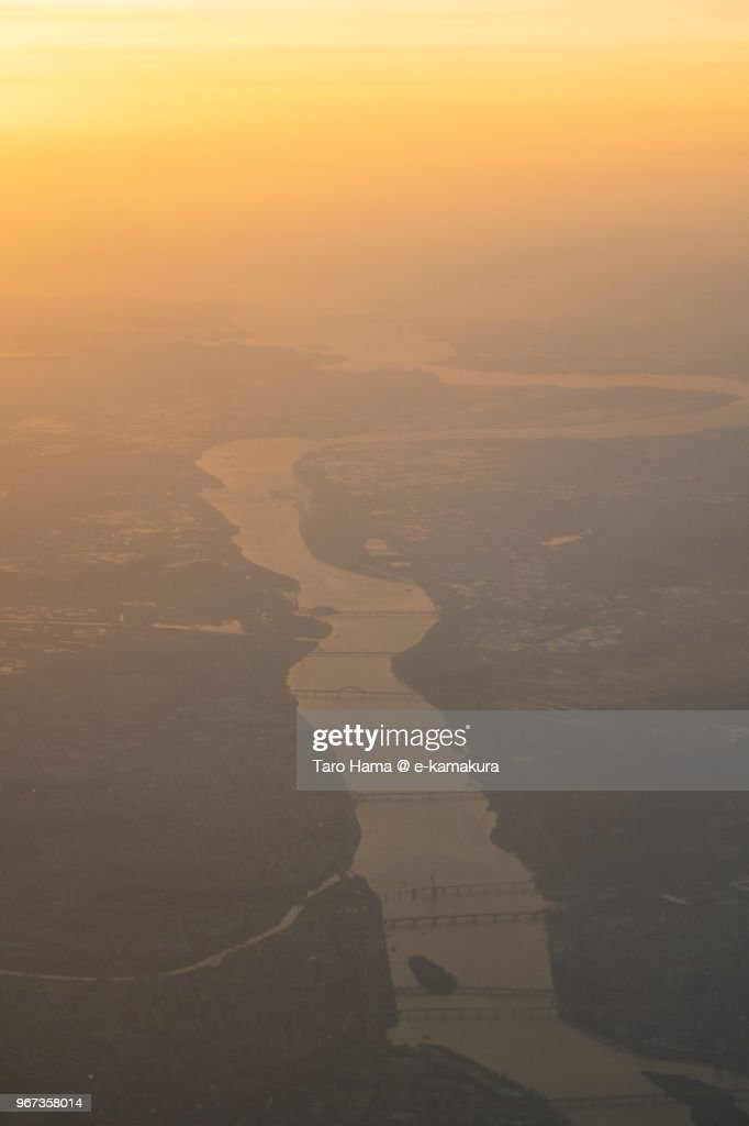 Han River in Korea sunset time aerial view from airplane : ストックフォト
