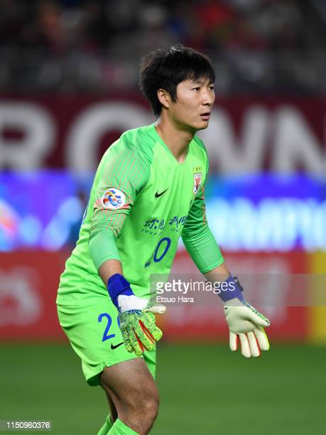 Han Rong Ze of Shandong Luneng in action during the AFC Champions League Group E match between Kashima Antlers and Shandong Luneng at Kashima Soccer...