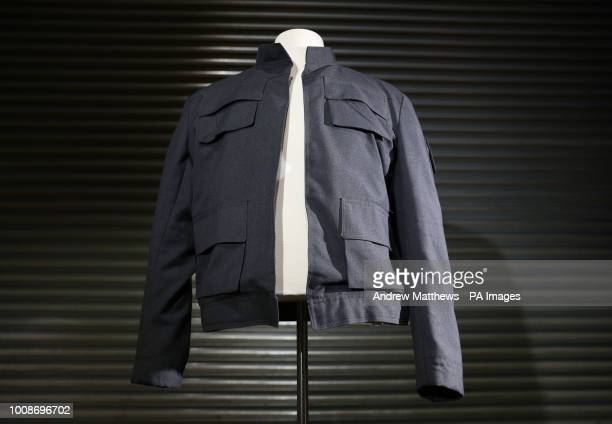 Han Solo's jacket as worn by Harrison Ford in Star Wars The Empire Strikes Back on display at the Prop Store head office near Rickmansworth ahead of...