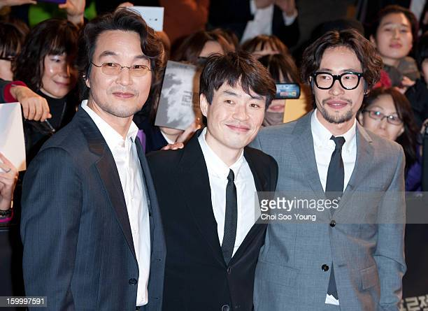 Han SukKyu director Ryoo SeungWan and Ryoo SeungBum attend the 'The Berlin File' Red Carpet Vip Press Screening at Times Square on January 23 2013 in...