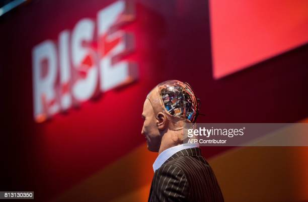 'Han the Robot' waits on stage before a discussion about the future of humanity in a demonstration of artificial intelligence by Hanson Robotics at...