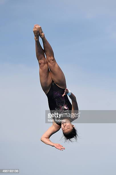 Han Wang of China competes in the Women's 3m Springboard Final during the FINA Diving Grand Prix on November 1 2015 on the Gold Coast Australia