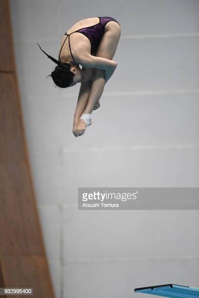 Han Wang of China competes in the Women's 3m Springboard final during day three of the FINA Diving World Series Fuji at Shizuoka Prefectural Fuji...