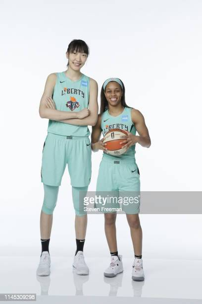 Han Xu and Asia Durr of the New York Liberty pose for a portrait during WNBA Media Day at St Joseph's College on May 16 2019 in Brooklyn New York...