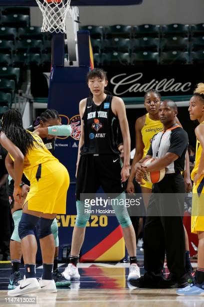 Han Xu of New York Liberty looks on during the game against the Indiana Fever on June 1, 2019 at the Bankers Life Fieldhouse in Indianapolis,...