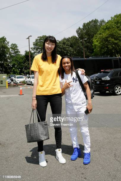 Han Xu of the New York Liberty and Brittany Boyd of the New York Liberty pose for a photo prior to the game against the Los Angeles Sparks on July 20...