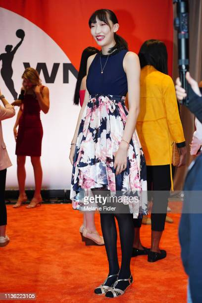 Han Xu poses for a portrait on the orange carpet before the 2019 WNBA Draft on April 10 2019 at Nike New York Headquarters in New York New York NOTE...