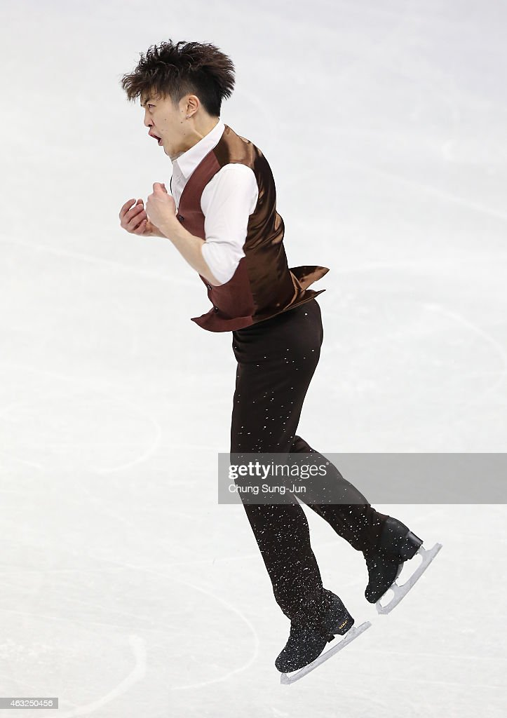 Han Yan of China performs during the Men Short Program on day one of the ISU Four Continents Figure Skating Championships 2015 at the Mokdong Ice Rink on February 12, 2015 in Seoul, South Korea.