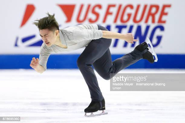 Han Yan of China performs during the Mens Short program on Day 1 of the ISU Grand Prix of Figure Skating at Herb Brooks Arena on November 24 2017 in...