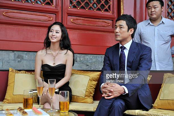 Han Yi Se and Ji Jin Hee attend the opening of the 'Cartier Treasures' exhibition at the Forbidden City September 4 2009 in Beijing China