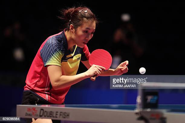 Han Ying of Germany competes against Zhu Yuling of China during their women's singles final match as part of the Qatar 2016 ITTF World Tour Grand...