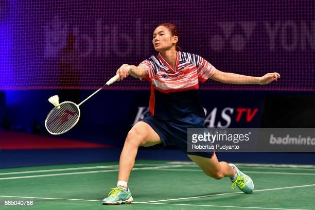Han Yue of China competes against Gregoria Mariska Tunjung of Indonesia during Women's Singles Final match of the BWF World Junior Championships 2017...