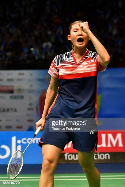 Han Yue of China reacts against Gregoria Mariska Tunjung of Indonesia during Women's Singles Final match of the BWF World Junior Championships 2017...