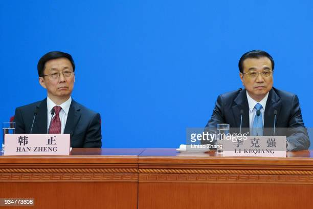 Han Zheng China's executive vice premier and China's Premier Li Keqiang attends a news conference following the closing of the First Session of the...