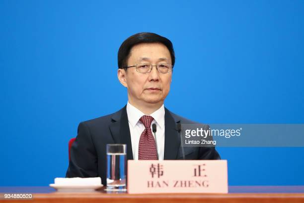 Han Zheng China's executive vice premier attends a news conference with Premier Li Keqiang following the closing of the First Session of the 13th...