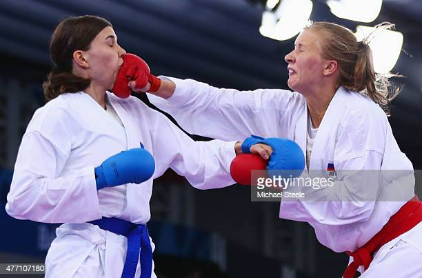 Hana Antunovic of Sweden competes with Ivanna Zaytseva of Russia in the Women's Karate Kumite 68kg bronze medal match during day two of the Baku 2015...