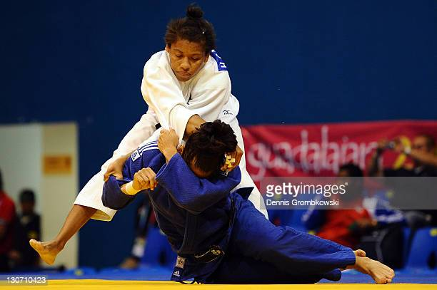 Hana Carmichael of USA and Flor Angela Velazquez of Venezuela compete during the Women's 57kg Judo 1/8 finals during Day 14 of the XVI Pan American...
