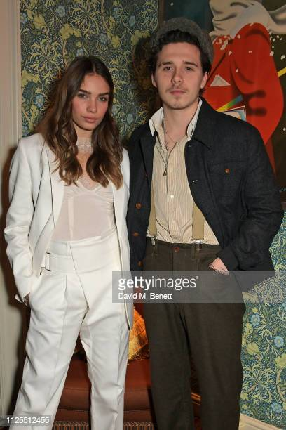 Hana Cross and Brooklyn Beckham attend the Victoria Beckham x YouTube Fashion Beauty after party at London Fashion Week hosted by Derek Blasberg...