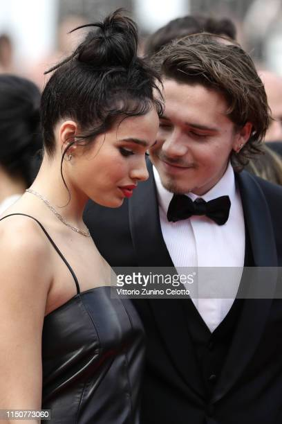 Hana Cross and Brooklyn Beckham attends the screening of Once Upon A Time In Hollywood during the 72nd annual Cannes Film Festival on May 21 2019 in...