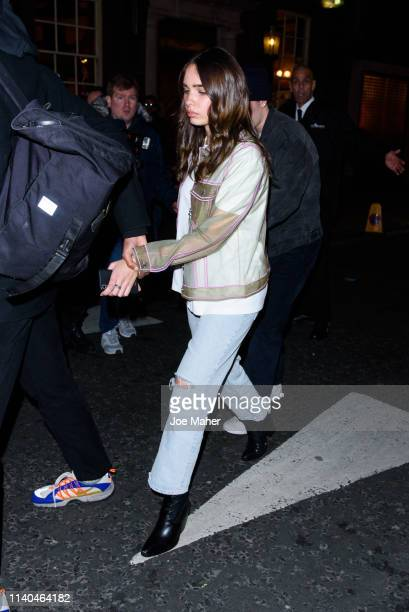 Hana Cross and Brooklyn Beckham leave the Pat McGrath 'A Technicolour Odyssey' Campaign launch party at Brasserie Of Light on April 04 2019 in London...