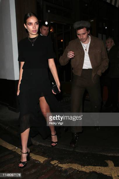 Hana Cross and Brooklyn Beckham seen attending Aladdin gala film afterparty at Lore of the Land on May 09 2019 in London England