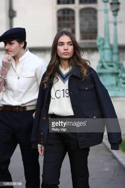 Hana Cross and Brooklyn Beckham seen attending Kent Curwen presentation during LFWM January 2019 on January 06 2019 in London England